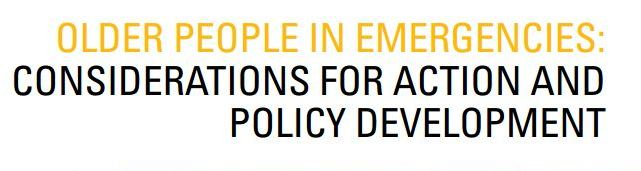 WHO Older People in Emergencies - Considerations for Action and Policy Development banner