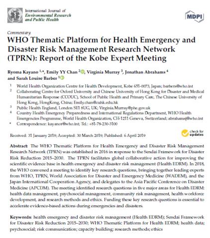 New Publication The Kobe Expert Meeting On Health Emergency